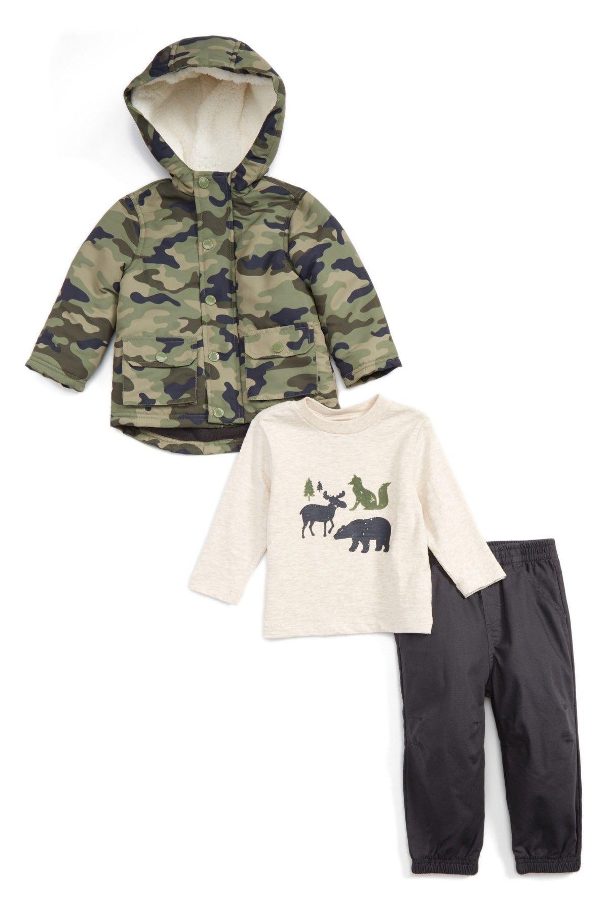 Camo Hooded Jacket T Shirt & Pants Set Baby Boys