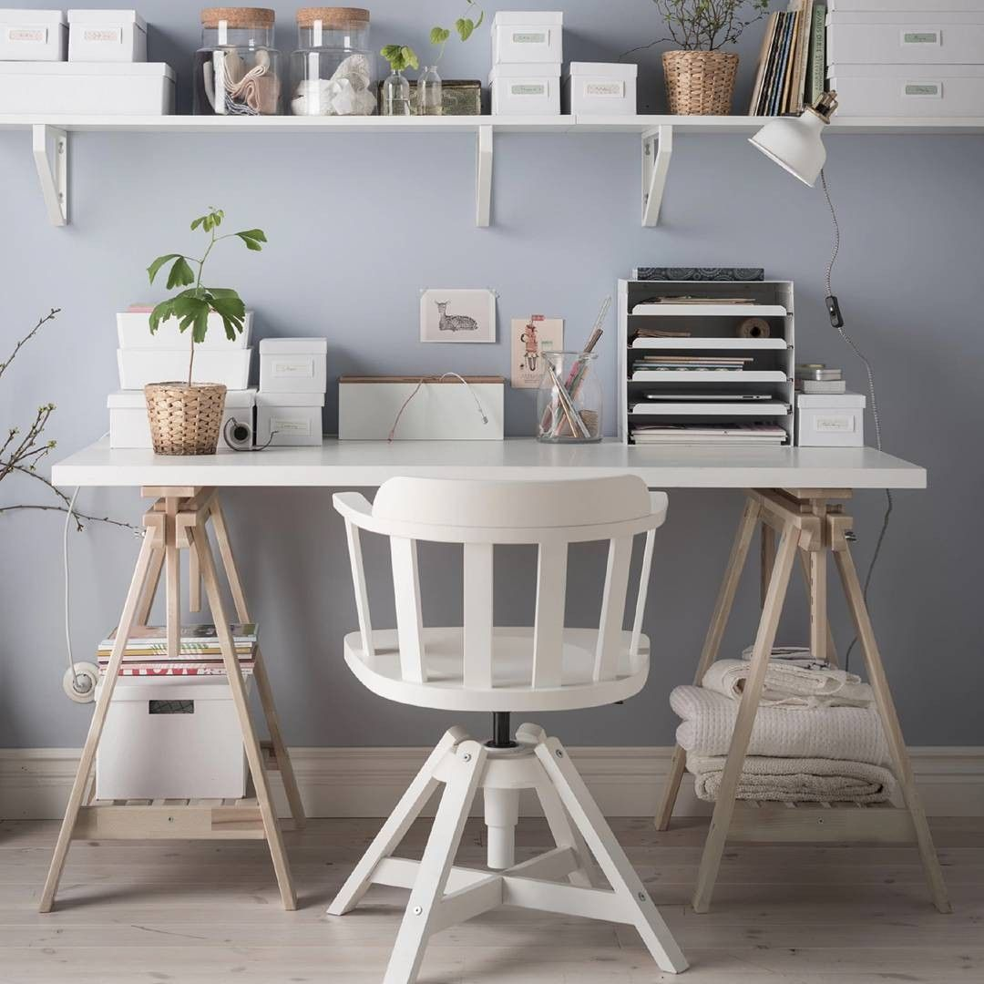 Wooden Sawhorse Desk With Shelves Plus White Chair And White Wall For Workspace Decoration Ideas Modern Desk Furniture Trestle Desk Work Space Decor