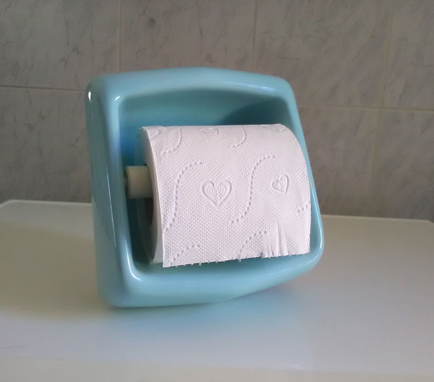 Antique Toilet Paper Dispenser Vintage Cyan Ceramic Toilet Paper Holder Bathroom