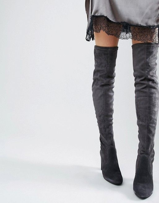 Dune | Dune Sibyl Thigh High Suede Heeled Over The Knee
