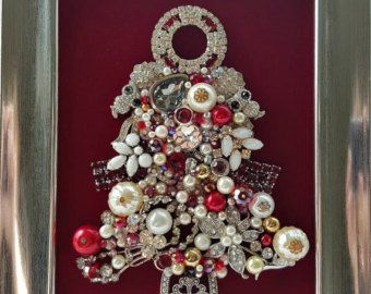 Vintage Jewelry BLUE CHRISTMAS Framed Jeweled by littlekittymoon