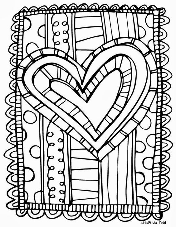 Frog Spot FREE Heart Coloring Page  Adult Coloring  Pinterest