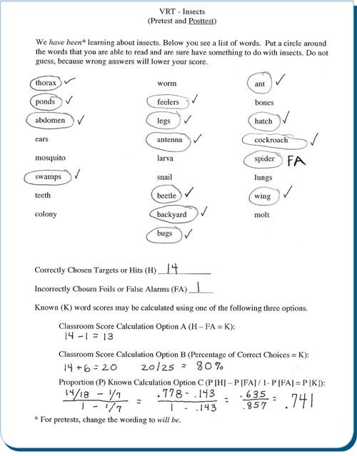 Vocabulary Recognition Task Reading Methods Pinterest - what is a summative assessment