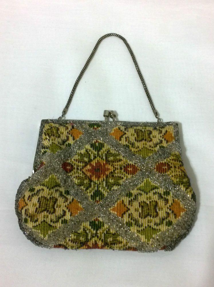 7644beb4934fb 1950s 1960s vintage beaded tapestry evening bag handbag Hong Kong ...