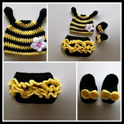 Newborn Baby Girls Crochet Knit bee Hat Costume Photo Photography Prop Outfits