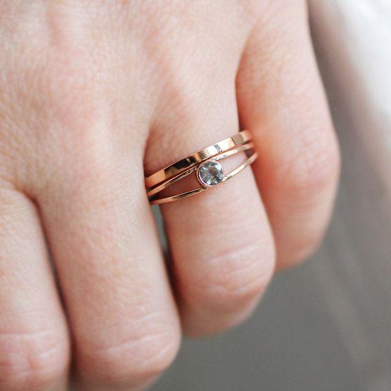 White Topaz Engagement Ring Recycled 14k Rose Gold Por Metalicious