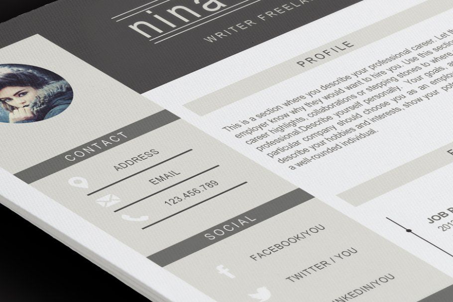Hydra 2 pages resume template in 2020 resume template
