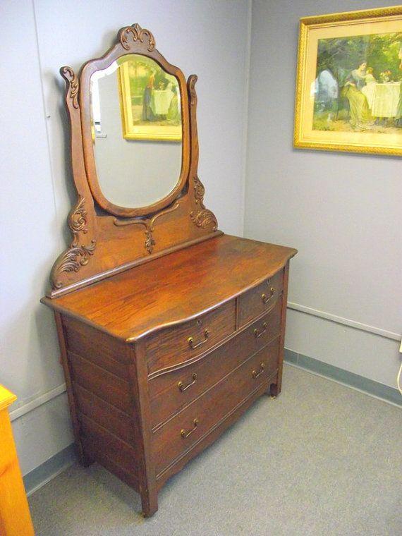 Antique Victorian Serpentine 4 Drawer Oak Dresser Buffet