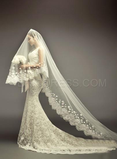 d0b47f7be magnífica catedral de longitud de marfil de encaje velo de novia Velos de  novia- ericdress.com 10924310
