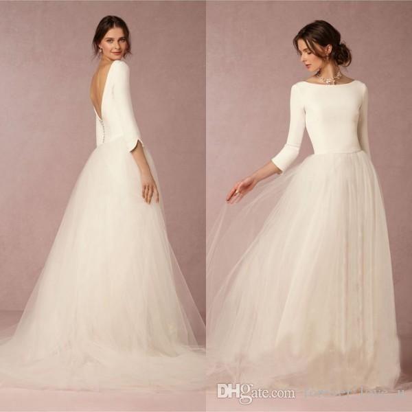 Cheap Wedding Gowns Uk: Cheap Stunning Winter Wedding Dresses A Line Satin Top