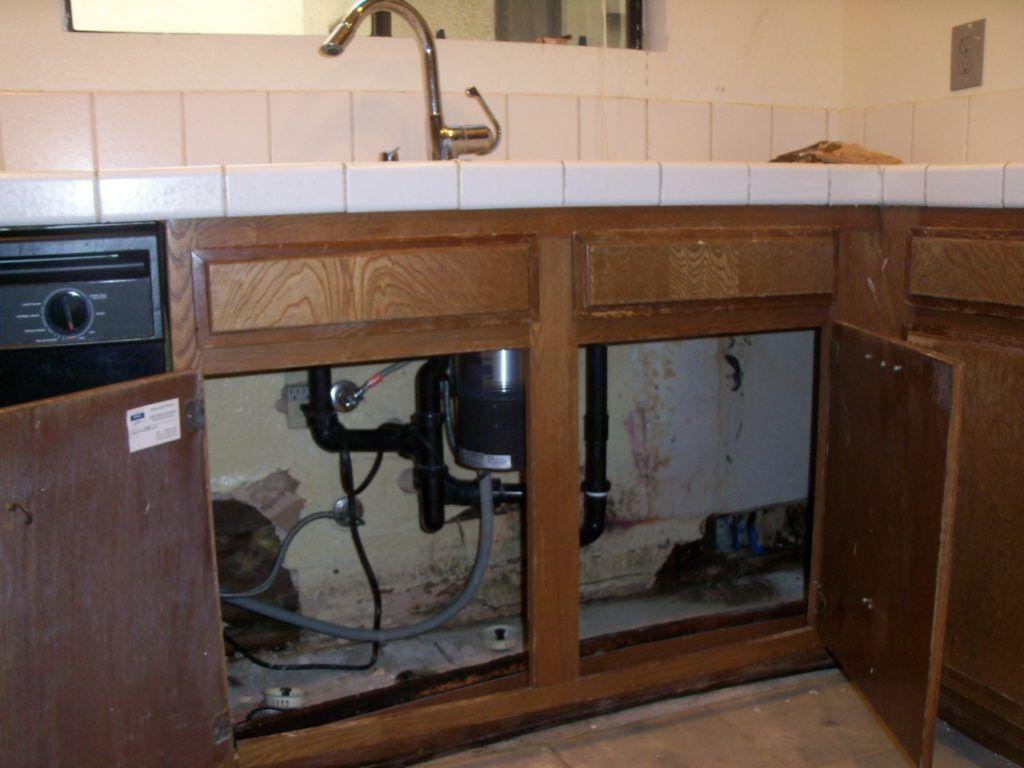 water damaged kitchen cabinets