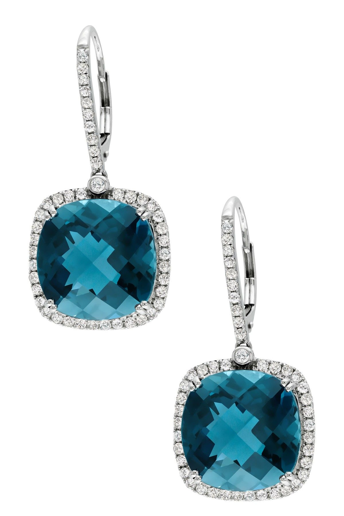 14k White Gold Diamond Halo London Blue Topaz Drop Earrings 0 88 Ctw