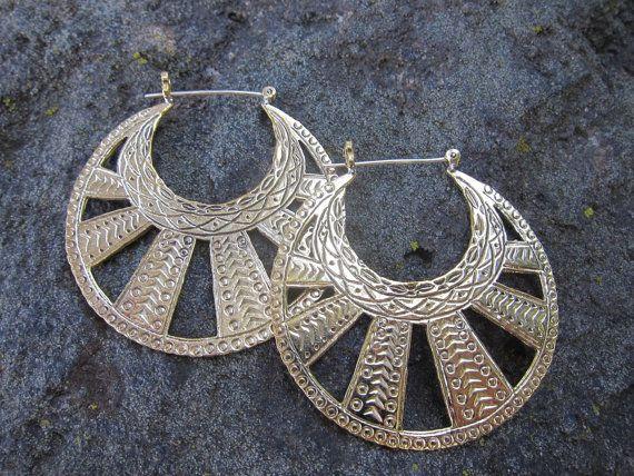 SALE Moon Rays Tribal Brass Hoops with Sterling by JayaMoksha