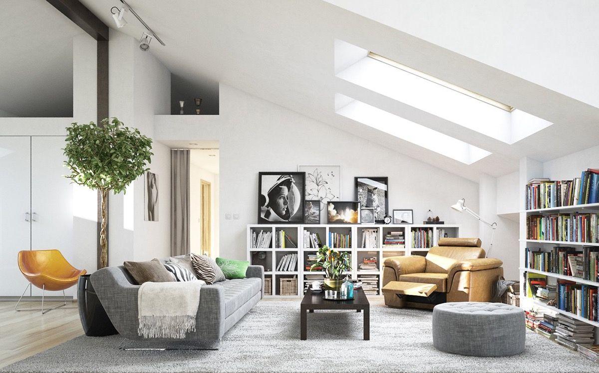 Interior: Modern Attic Home Office Design White Bookcase Brown Sofa ...
