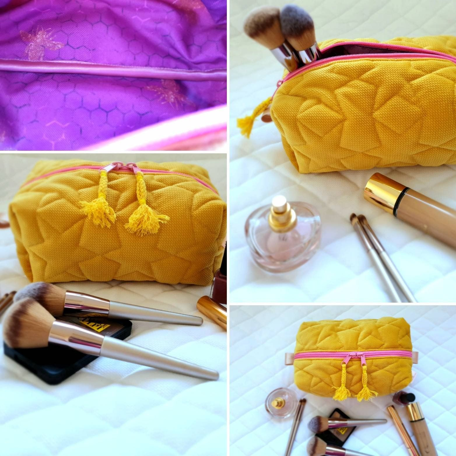 20 OFF Mustard yellow make up bag/ yellow quilted velvet