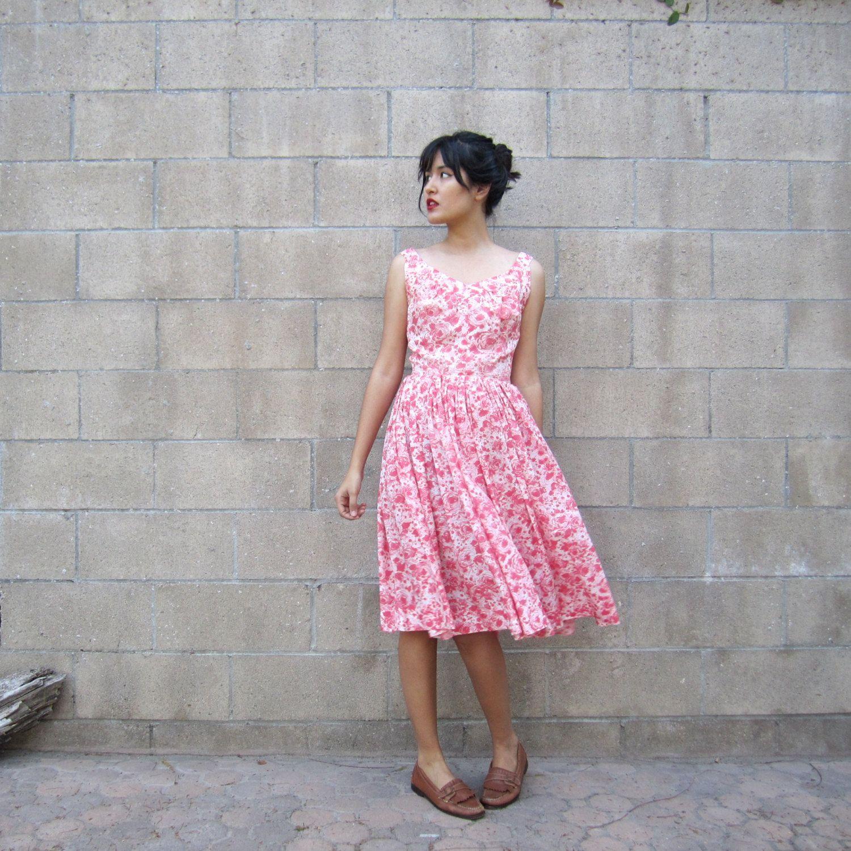 S dress pink prom dress silk floral s dress s vintage