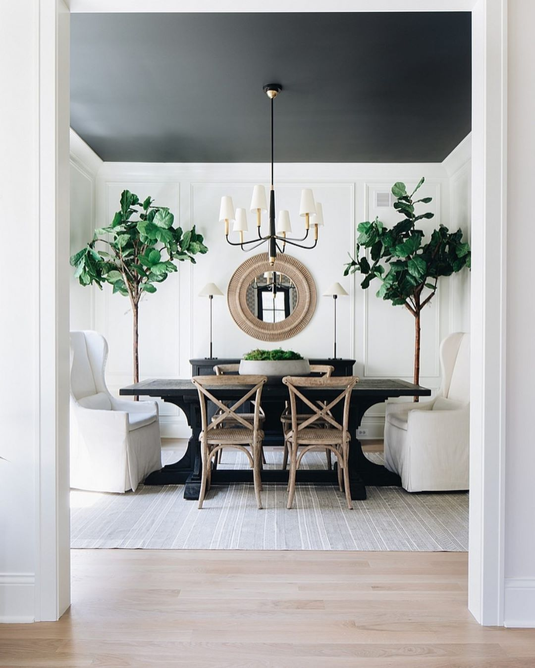 Home Bunch On Instagram Which One Would You Choose Modern Farmhouse Or Traditional S In 2020 Dark Dining Room Black And White Dining Room Farmhouse Dining Room