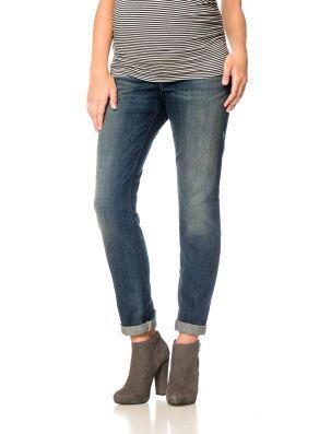 2b90b6d9b6571 Indigo Blue Motherhood Maternity Secret Fit Belly Roll Hem Straight Leg Maternity  Jeans