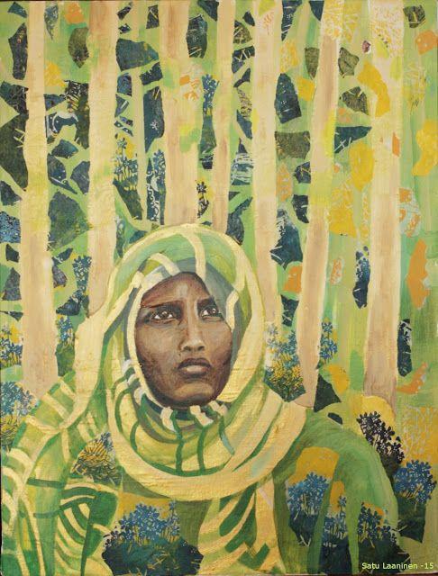 "Collage ""Kotona?"" by Satu Laaninen 2015. Acrylic on canvas, collage, wood cut"