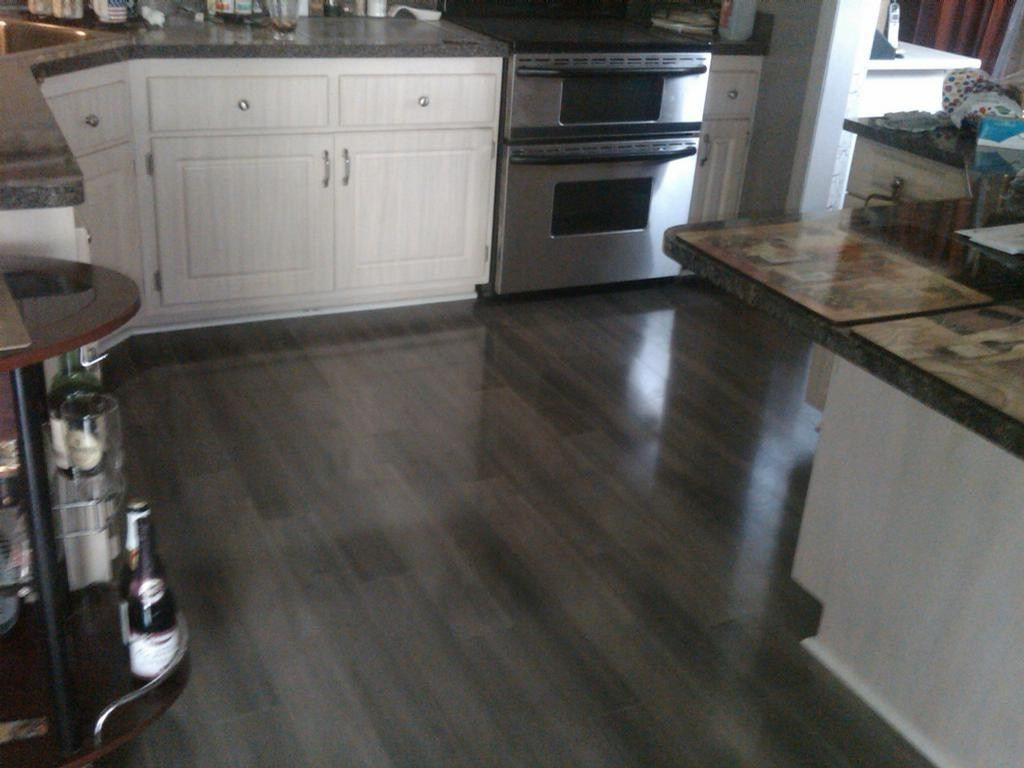 Cheap Kitchen Flooring Resurfacing Cabinets Dark Wood Laminate