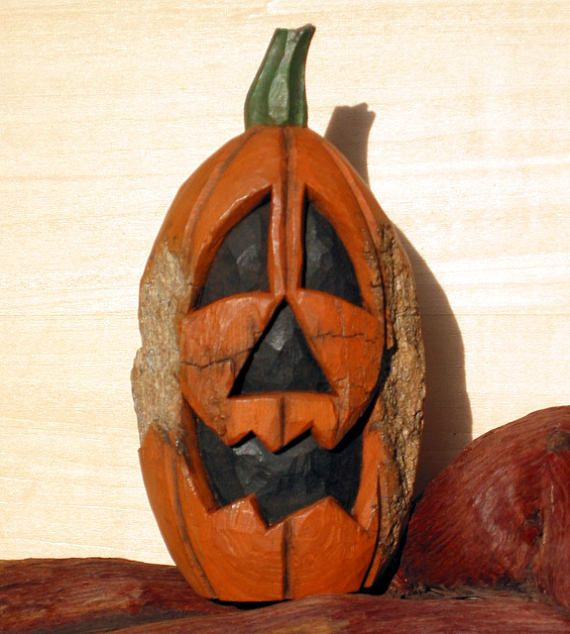 Jack O Lantern Wood Carving Hand Carved Original Halloween Pumpkin Cottonwood Bark Home Fall Rustic Decor Folk Art For Sale By Joan Wood Carving Carving Jack O Lantern
