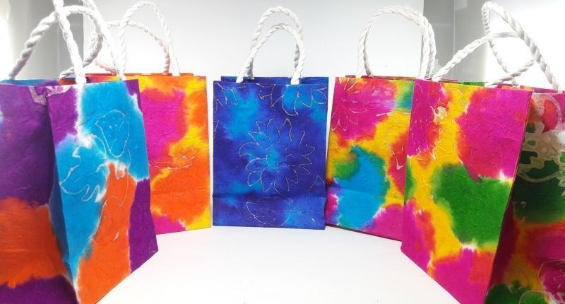 Mulberry Paper Gift Bags Party Rainbow Wedding Favors Bags Handmade 5 pcs  #Impressdeal #Anniversary