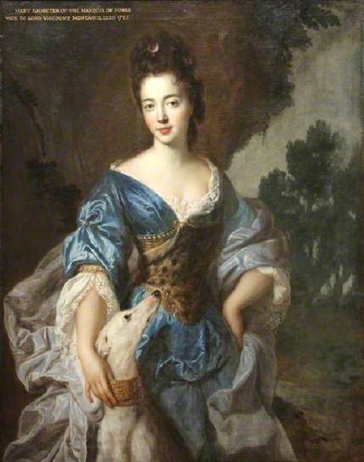 """Lady Mary Herbert, Viscountess Montagu, Previously the Honourable Lady Richard Molyneux, and Later Lady Maxwell, as Diana"" by François de Troy (1688)"