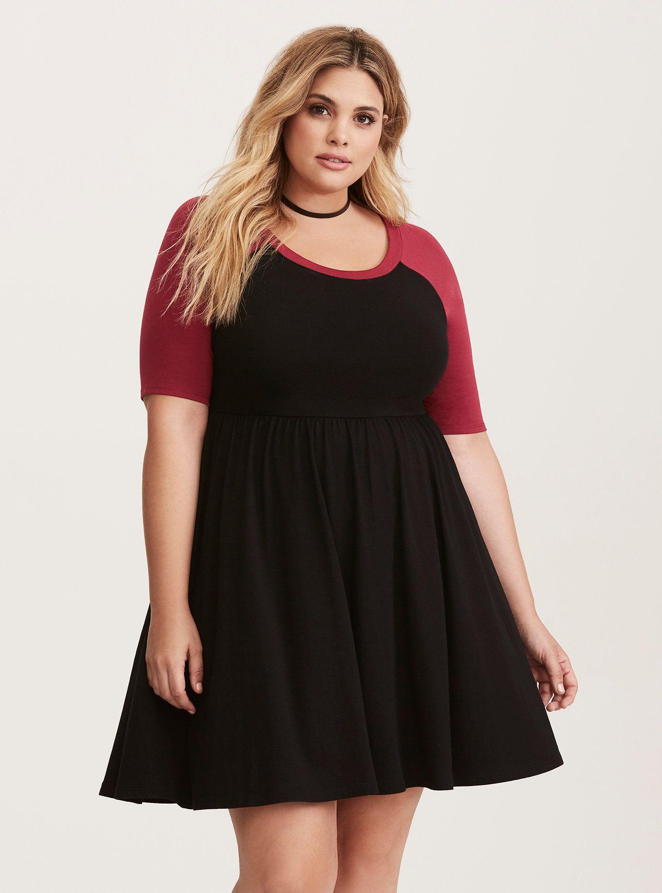 Beet red u black jersey raglan skater dress in fashion