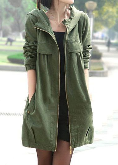 Pocket Zipper Up Hooded Collar Army Green Coat on sale only US 45.93 ... 0289ef0d61f