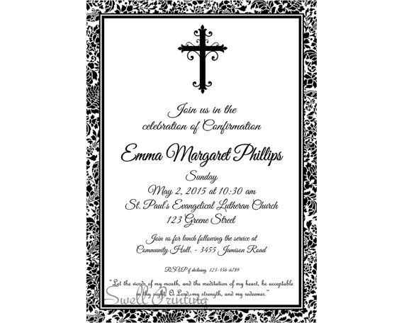 damask confirmation invitation confirmation invitation confirmation