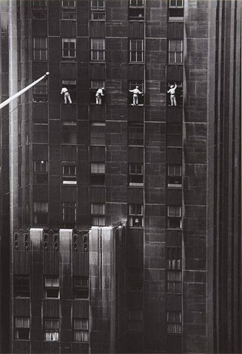 window washers, 48th street, new york, 1958 • inge morath