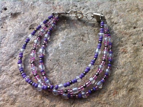 3 String Gl Bead Bracelet By Hattascreations On Etsy