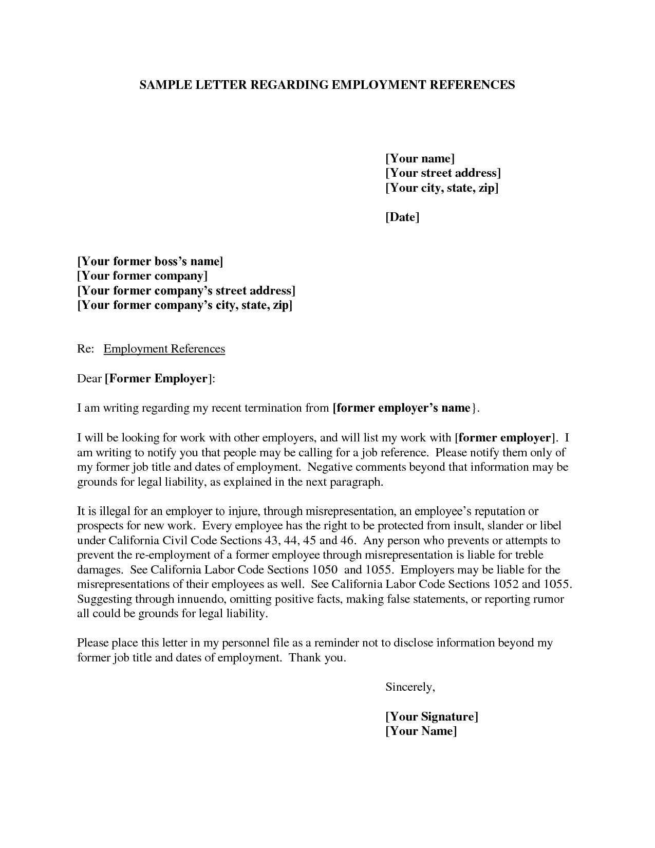 sample job reference letter from employer