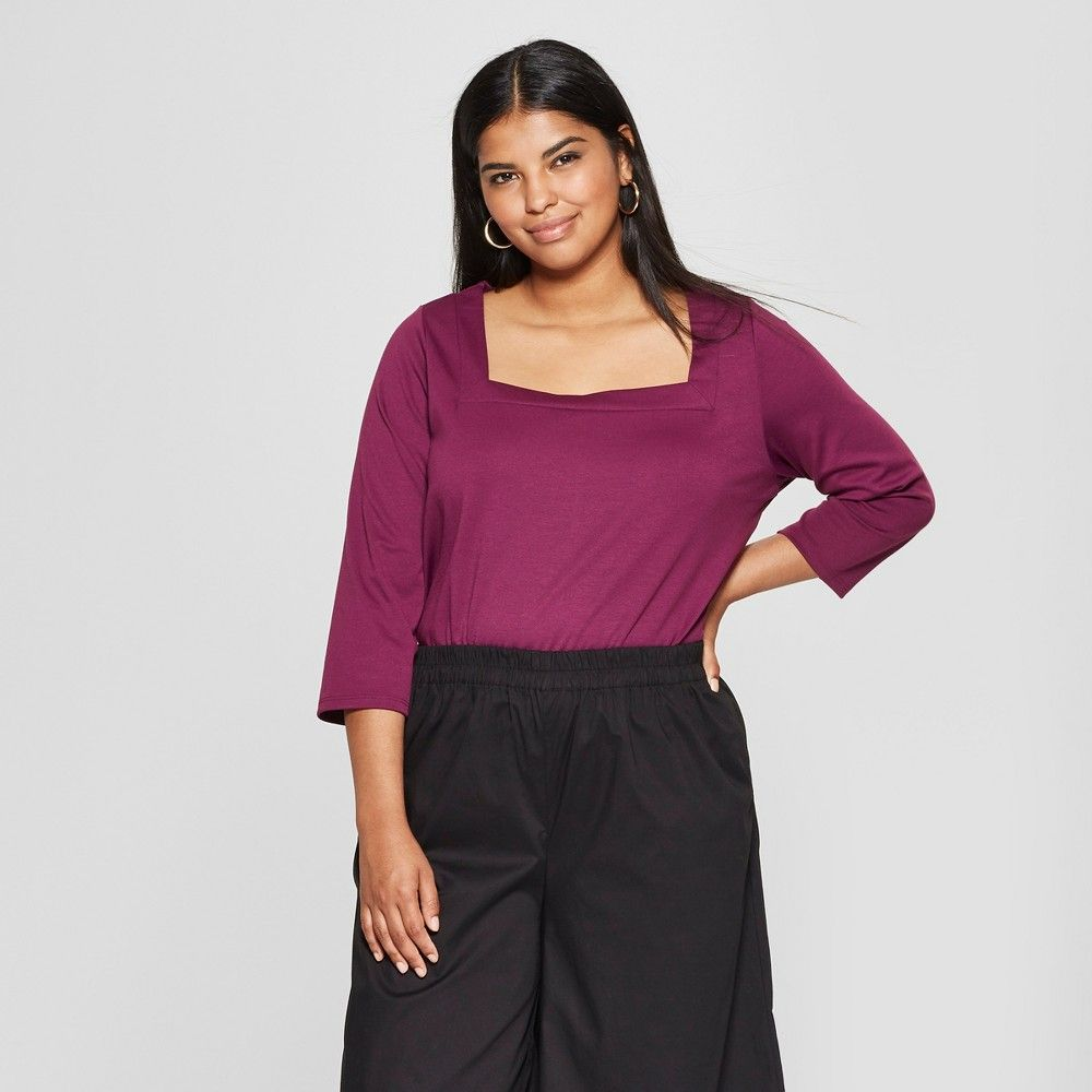 7cb56144326 Women's Plus Size 3/4 Sleeve Square Neck Top - Who What Wear Plum (Purple)  3X