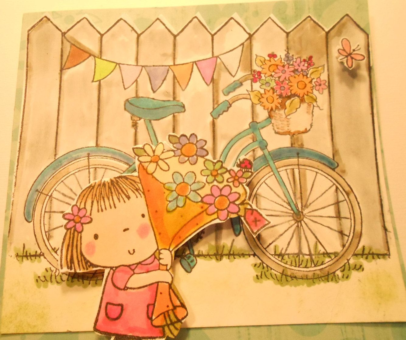 3 CUTY Cards - Blank - Cute Girl(s) Ready For a Bike Ride - Handmade by OhayoMtnDesigns on Etsy
