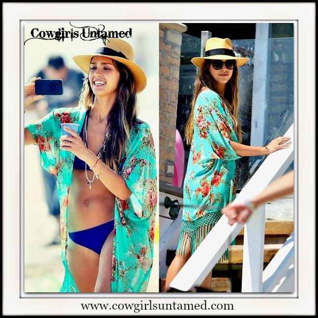 5cb086699b9 WILDFLOWER KIMONO Turquoise Fringe Pink Red Floral Kimono Celebrity Boho  Jacket Bikini Coverup  kimono  jacket  turquoise  fringe  summer  beach   coverup ...
