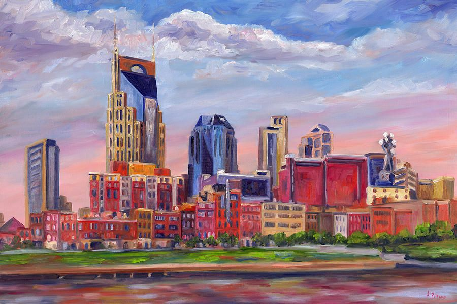 Nashville Skyline Painting By Jeff Pittman Skyline Painting Nashville Skyline Skyline Art