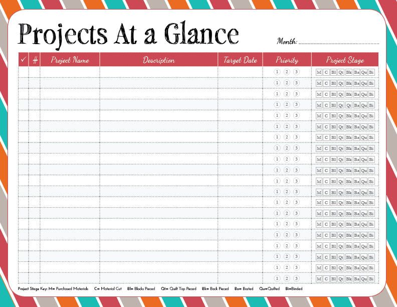 free printable \/ Projects at a glance \/ from Pixels to Patchwork - project contact list template