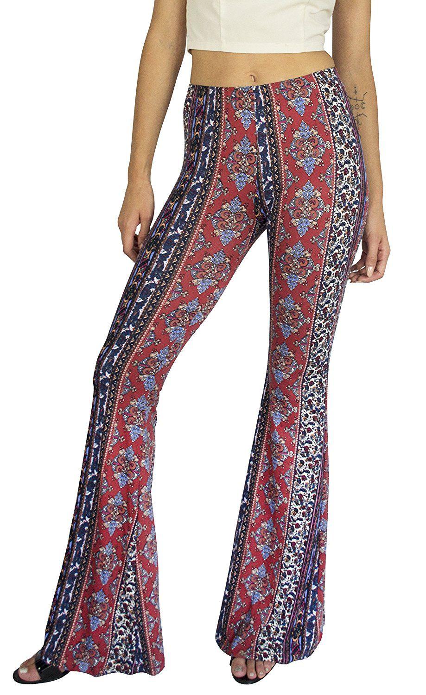 266bf52bd8194f Daisy Del Sol High Waist Gypsy Comfy Yoga Ethnic Tribal Stretch 70s Bell  Bottom Flare Pants
