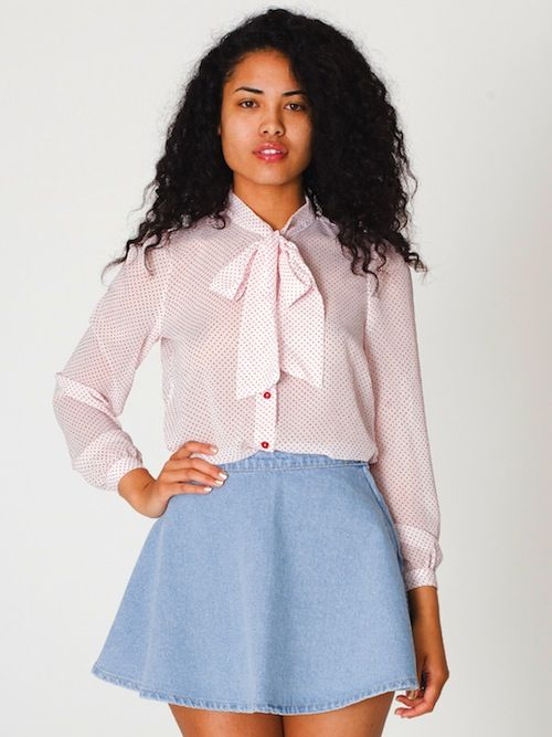 933d938135 Sexytary  American Apparel s Chiffon Secretary Blouse   i used to have that  skirt but i spilled tea on it and my rats chewed it up