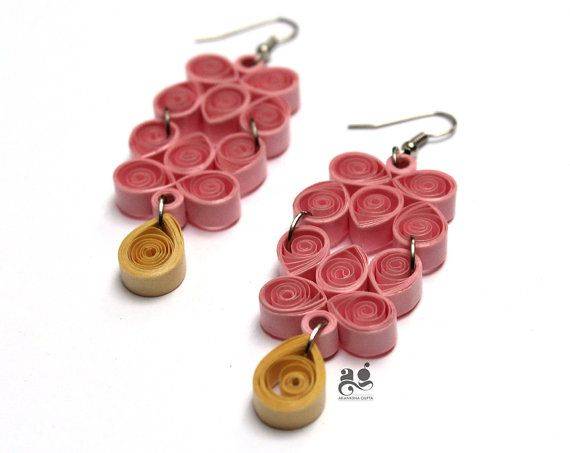 St anniversary gift for her quilled earrings by