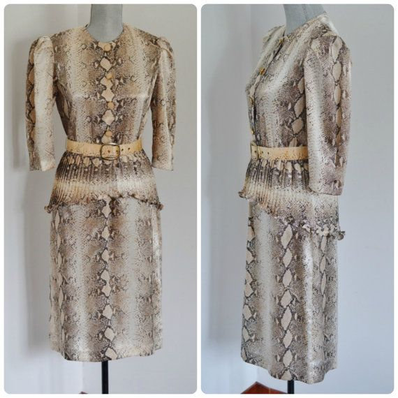 Petite Vintage 1980s Snakeskin Dress with Peplum by Nu Mode, Made in Canada, EclecticLoveVintage