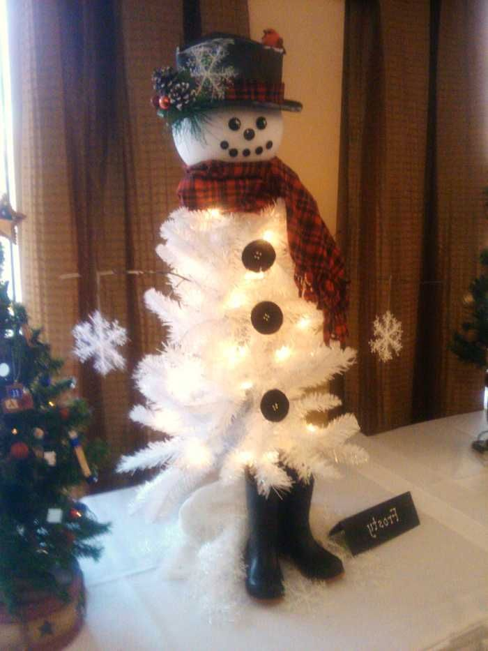 white christmas tree decorated as a snowman