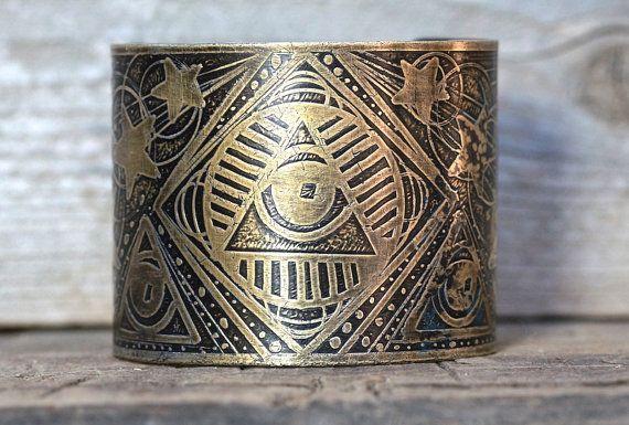 Etched Cuff Bracelet Brass Cuff Bracelet All Seeing Eye Bracelet Occult Jewelry Unique Jewelry Sacred Geometry Masonic Jewelry on Etsy, $52.00