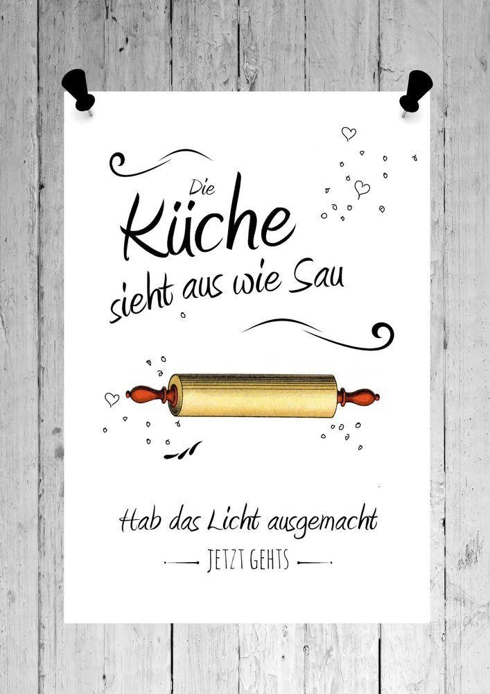 Details zu Druck FINE ART Bild Poster *KÜCHE* Print shabby weiß DIN ...