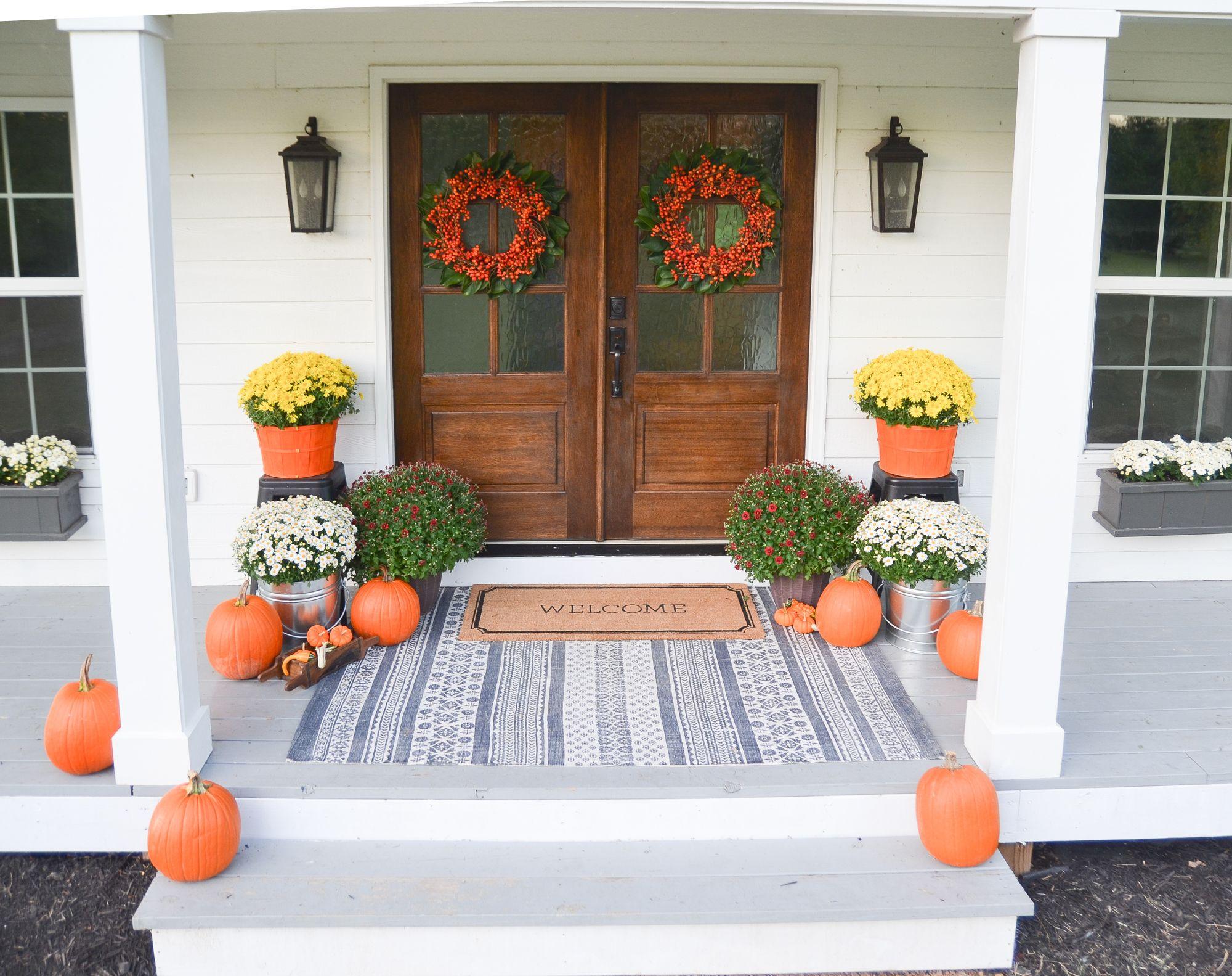 Fall Farmhouse Front Porch Beneath My Heart Fall Decorations Porch Fall Front Porch Decor Front Porch Decorating