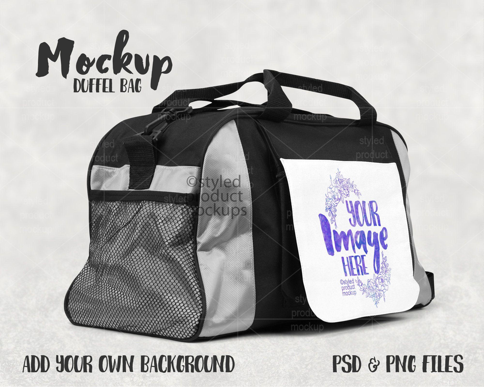 Download Dye Sublimation Duffel Bag Mockup Add Your Own Image And Etsy Bag Mockup Duffel Bag Duffel
