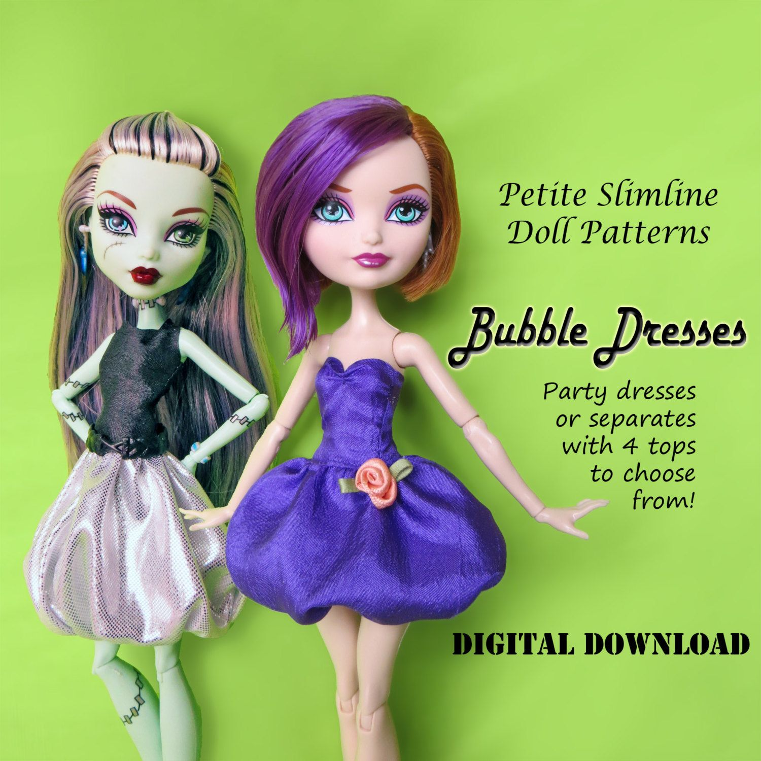Bubble Skirts & Party Dresses Doll Clothes Pattern for Petite ...