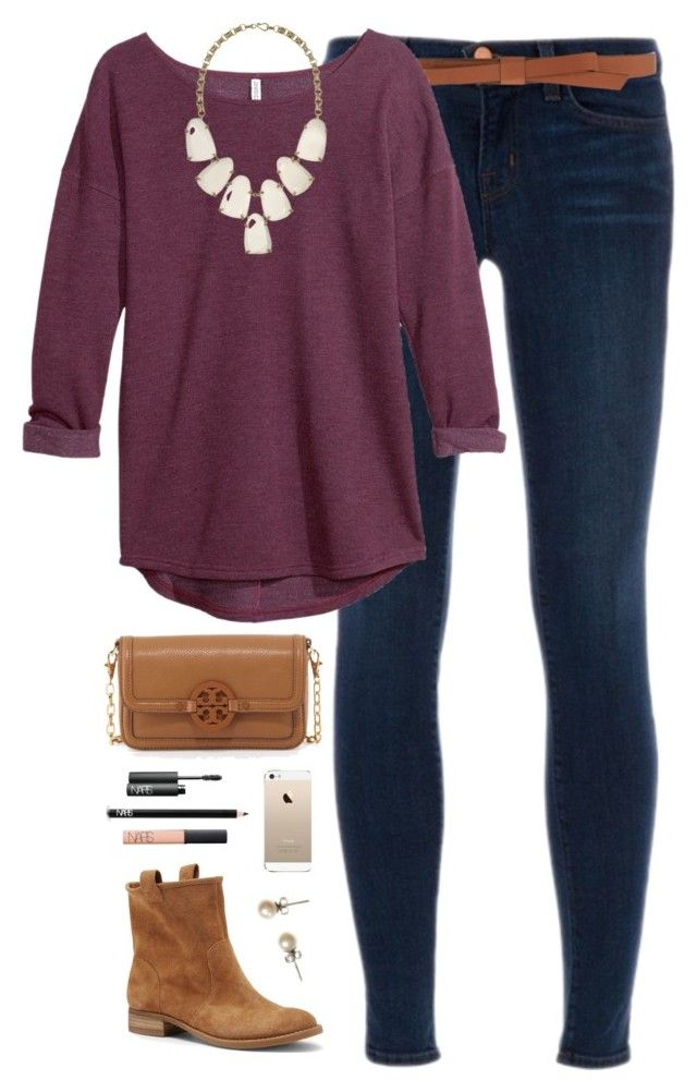 """""""statement necklace"""" by classically-preppy ❤ liked on Polyvore featuring moda, J Brand, Ganni, H&M, Kendra Scott, Sole Society, Tory Burch, NARS Cosmetics e J.Crew"""