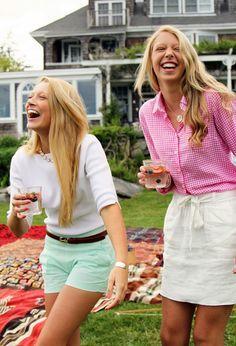 Sea foam green seersucker, brown belt, anchor and 3/4 sleeve white shirt. Super Classy. Classy Girls Wear Pearls